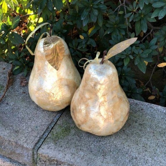 Vintage Other - Capiz Shell Pears W/Gold Leaf – A Pair
